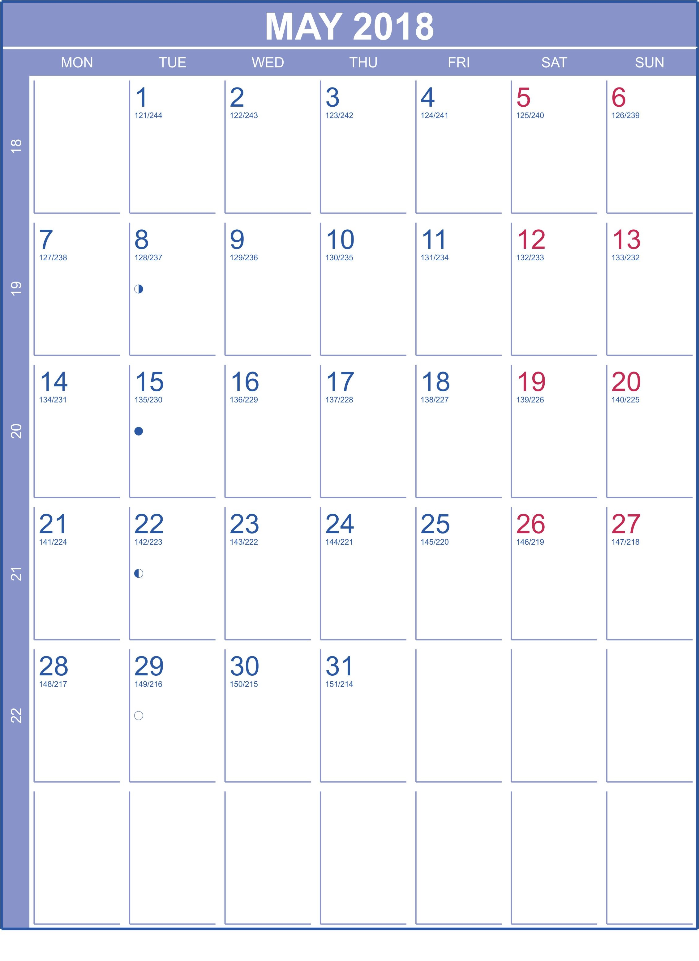 Calendar May 2018 For Philippines