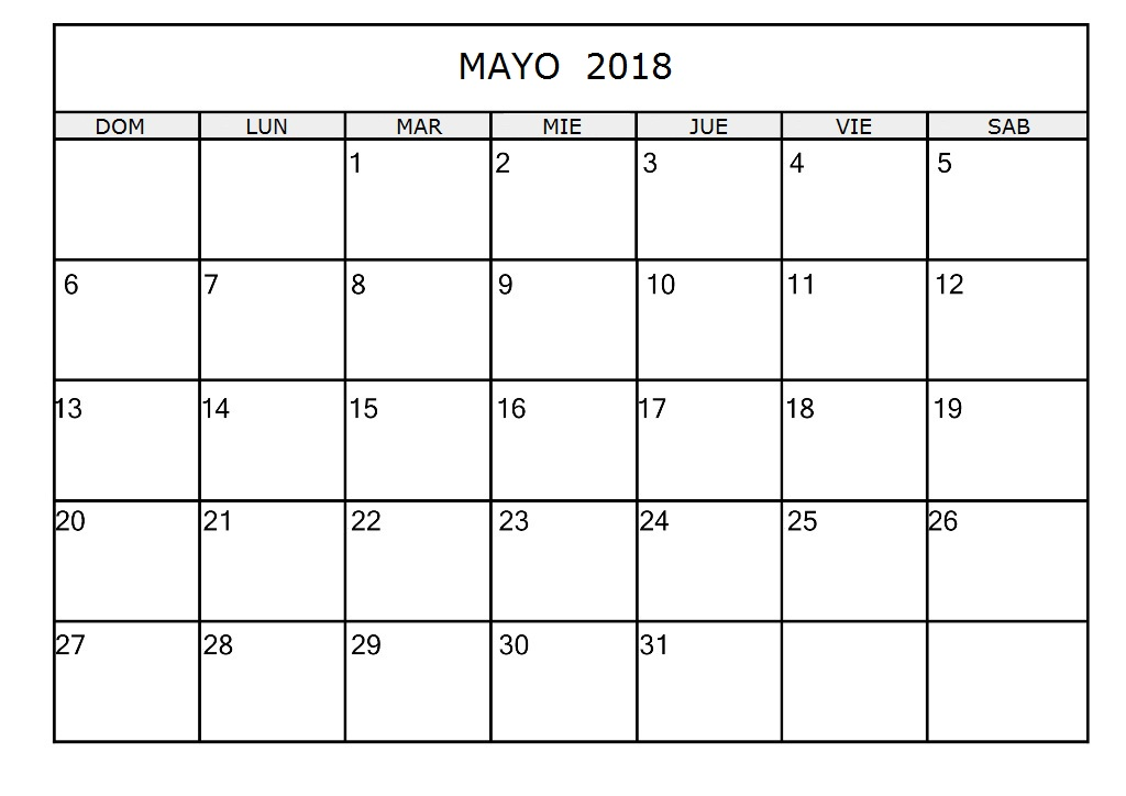 Calendario De Mayo 2018