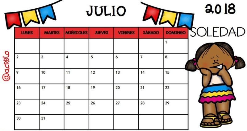 Calendario Julio 2018 Pdf