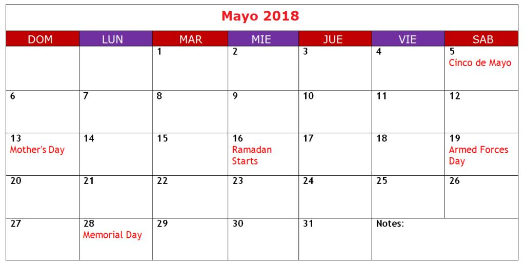 Calendario Mayo 2018 Para Imprimir
