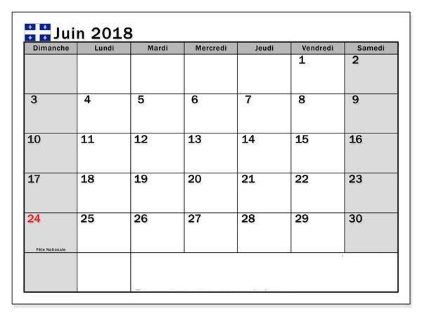 Calendrier Imprimable Pour Juin 2018