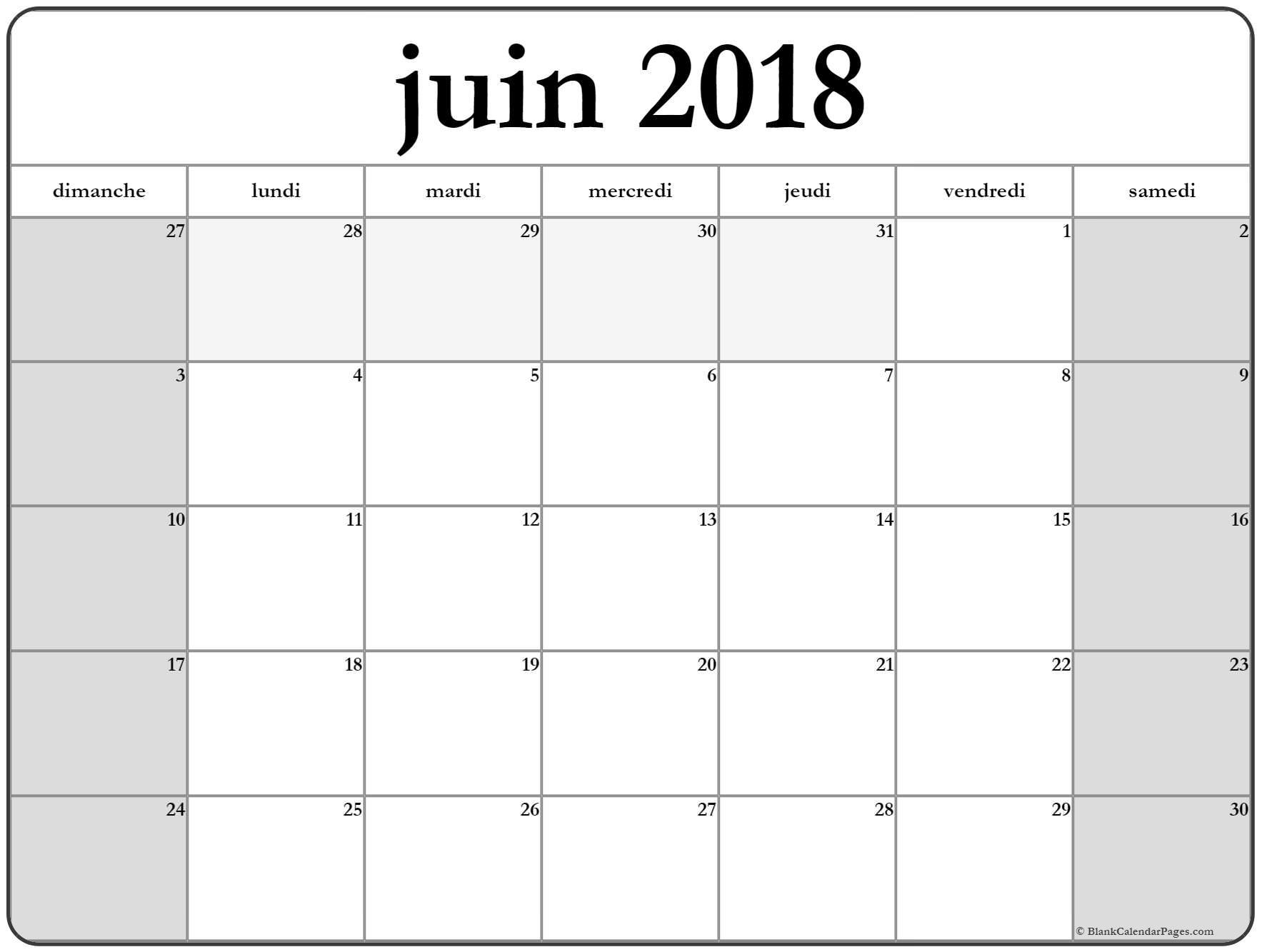Calendrier Juin 2018 Pour Les Enfants