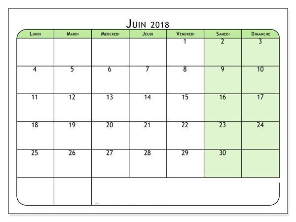 Calendrier Juin 2018 Télécharger