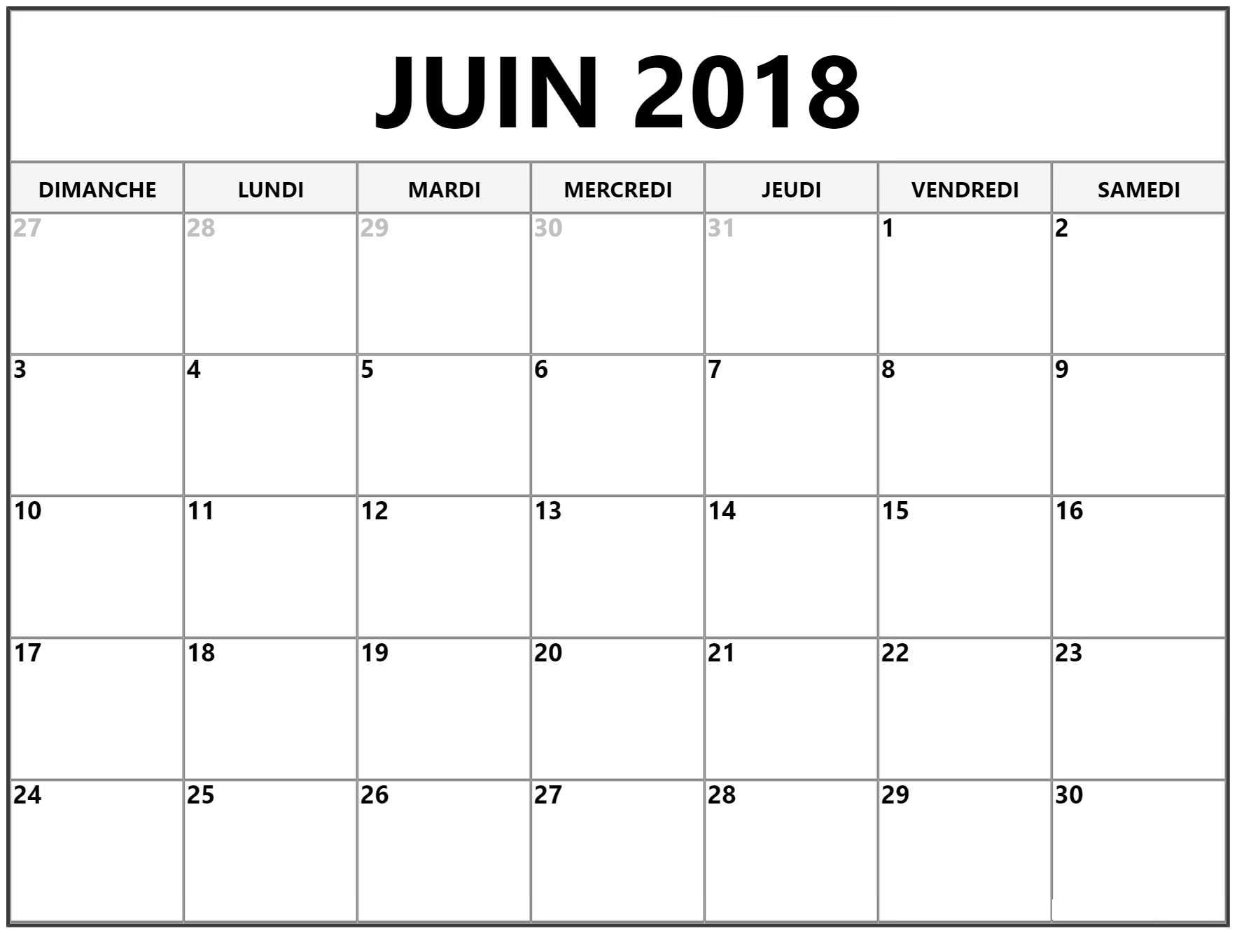 Calendrier Pour Juin 2018