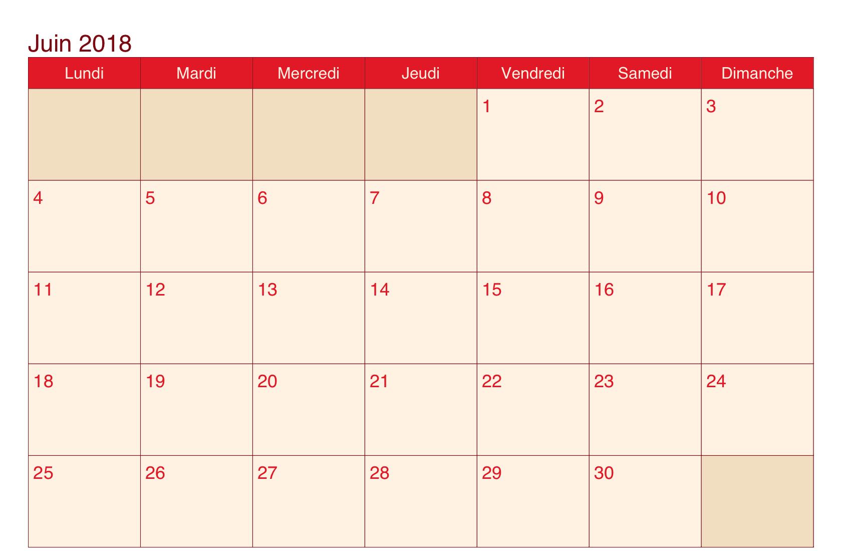 Calendrier de Juin 2018 Avec Vacances