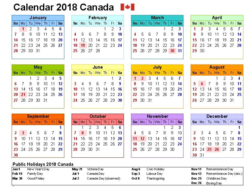 Canada 2018 Calendar Holidays