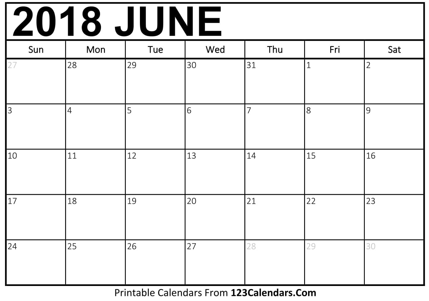Chicago June 2018 Calendar
