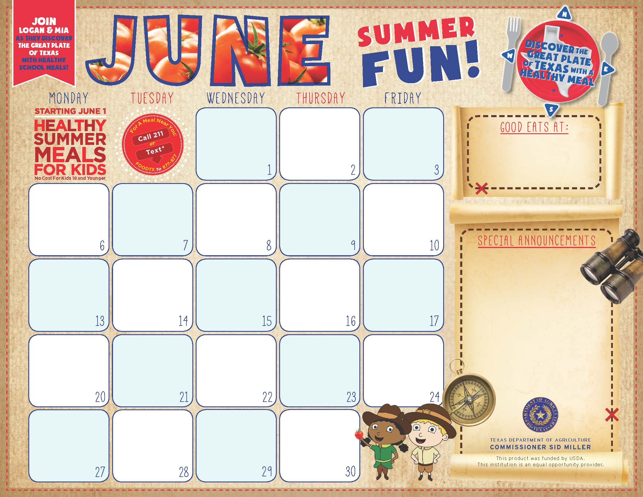 Childrens Calendar June 2018
