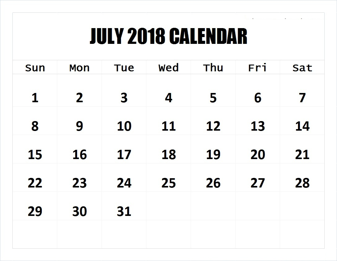 Colorful 2018 July Calendar