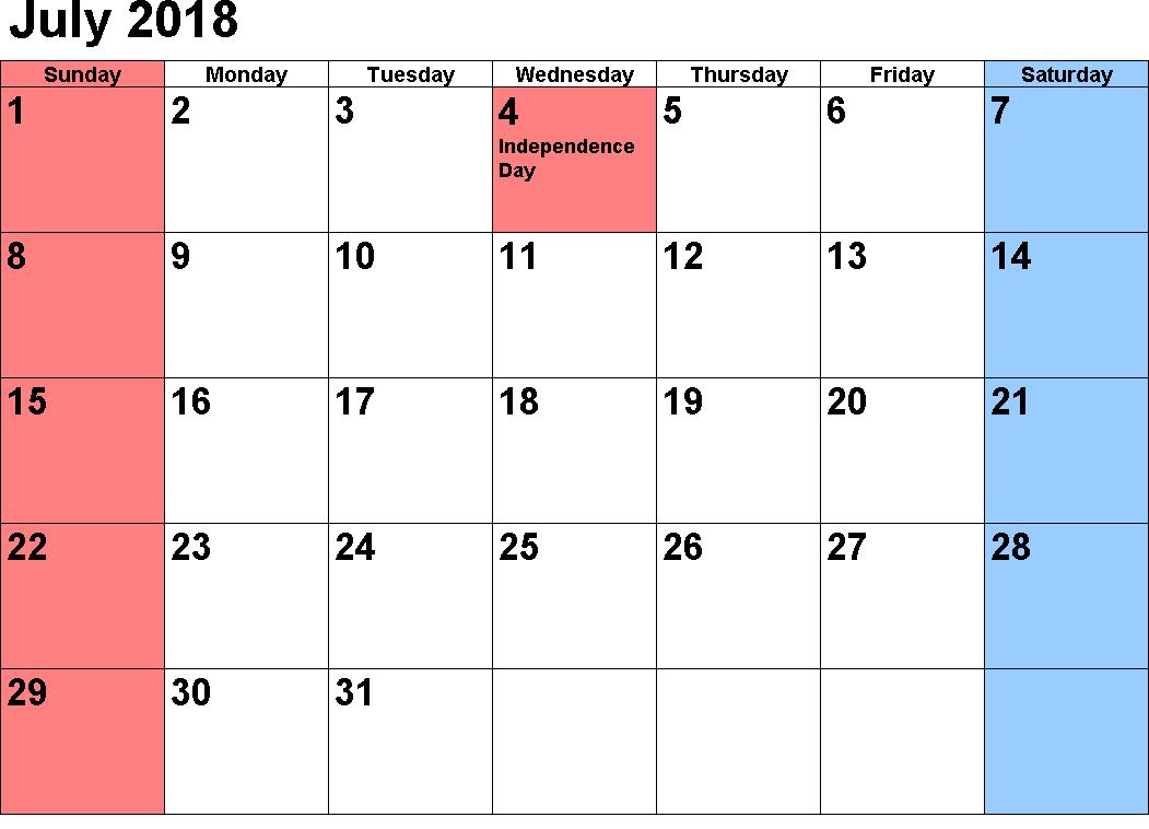 Colorful Calendar 2018 July