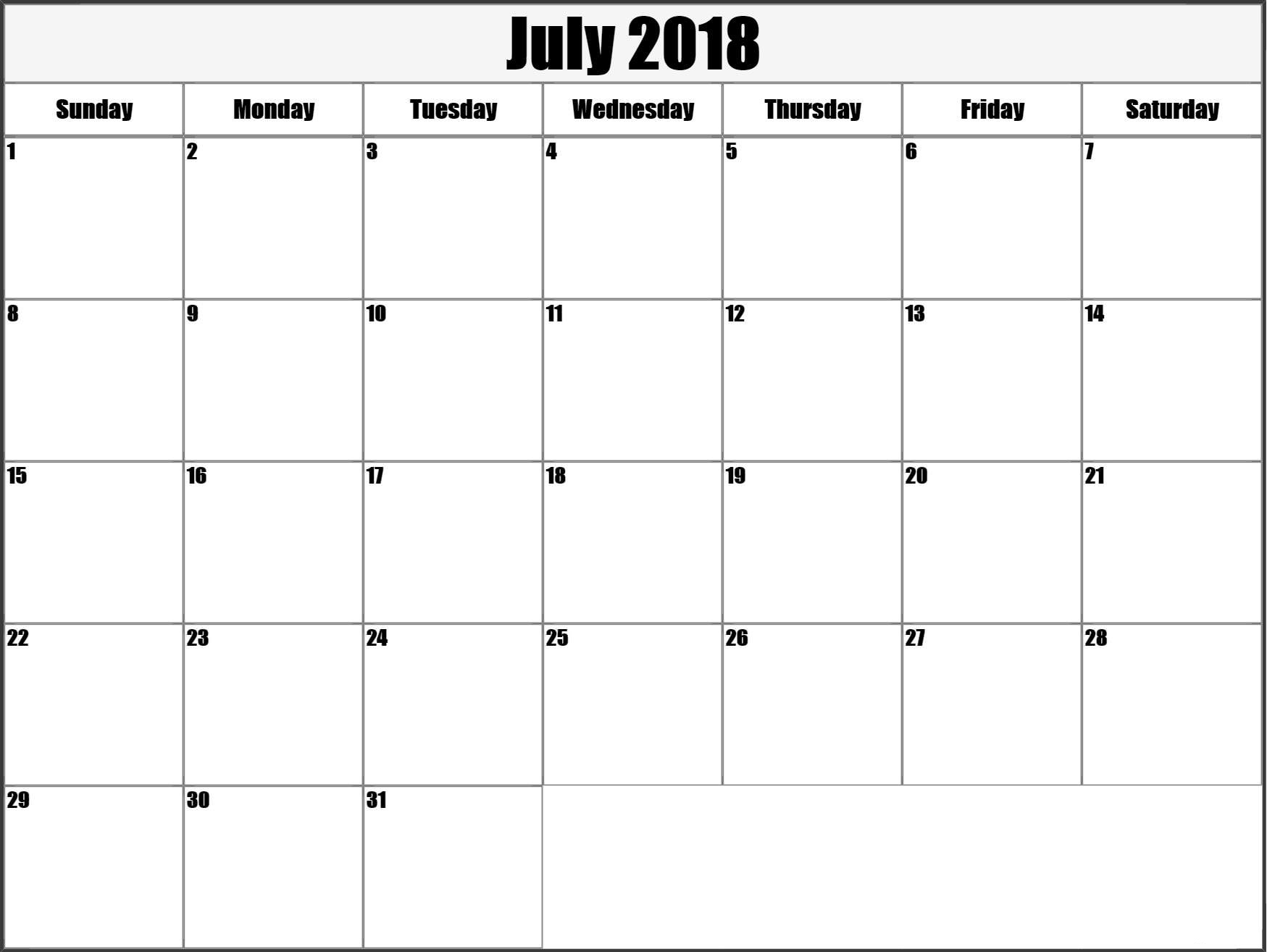 Cute Blank Calendar For July 2018