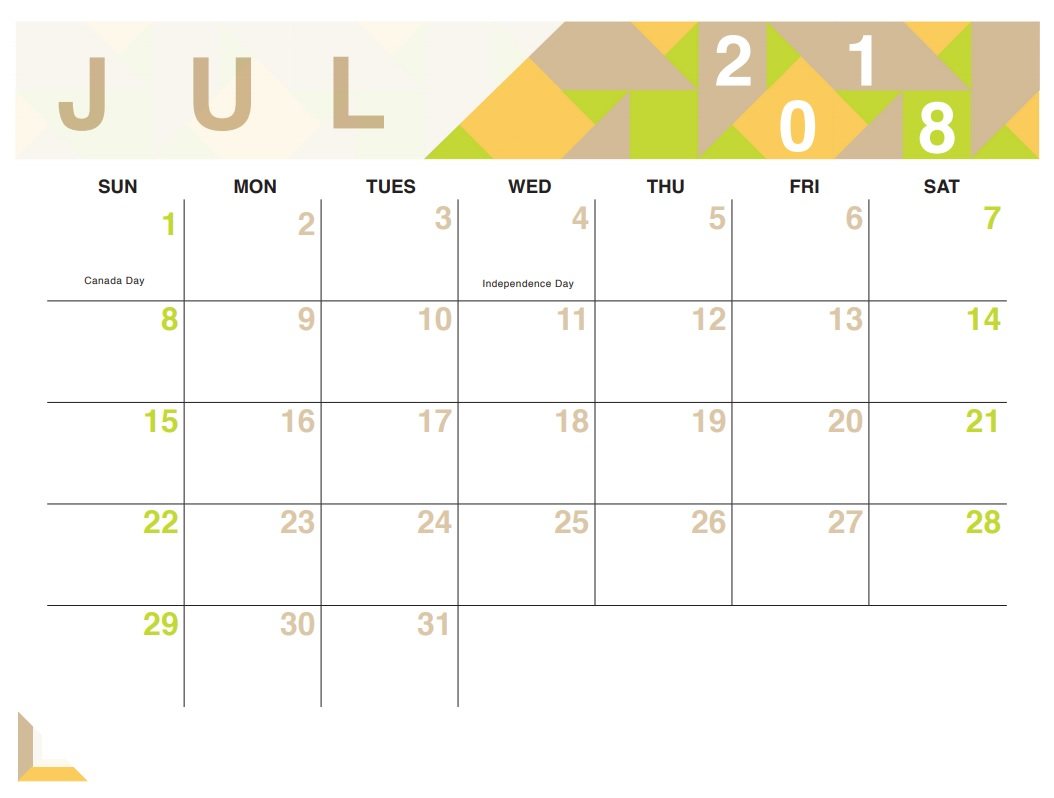 Cute Calendar July 2018