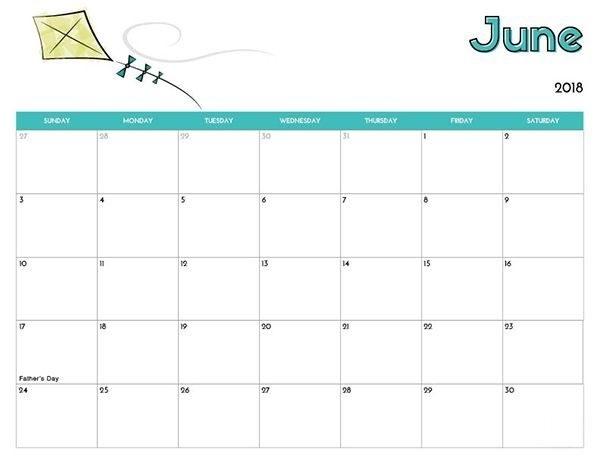 Cute Calendar June 2018