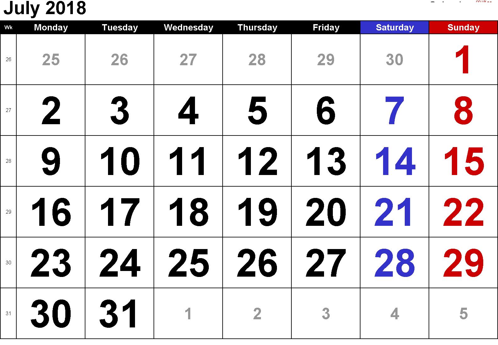 Cute July 2018 Blank Calendar