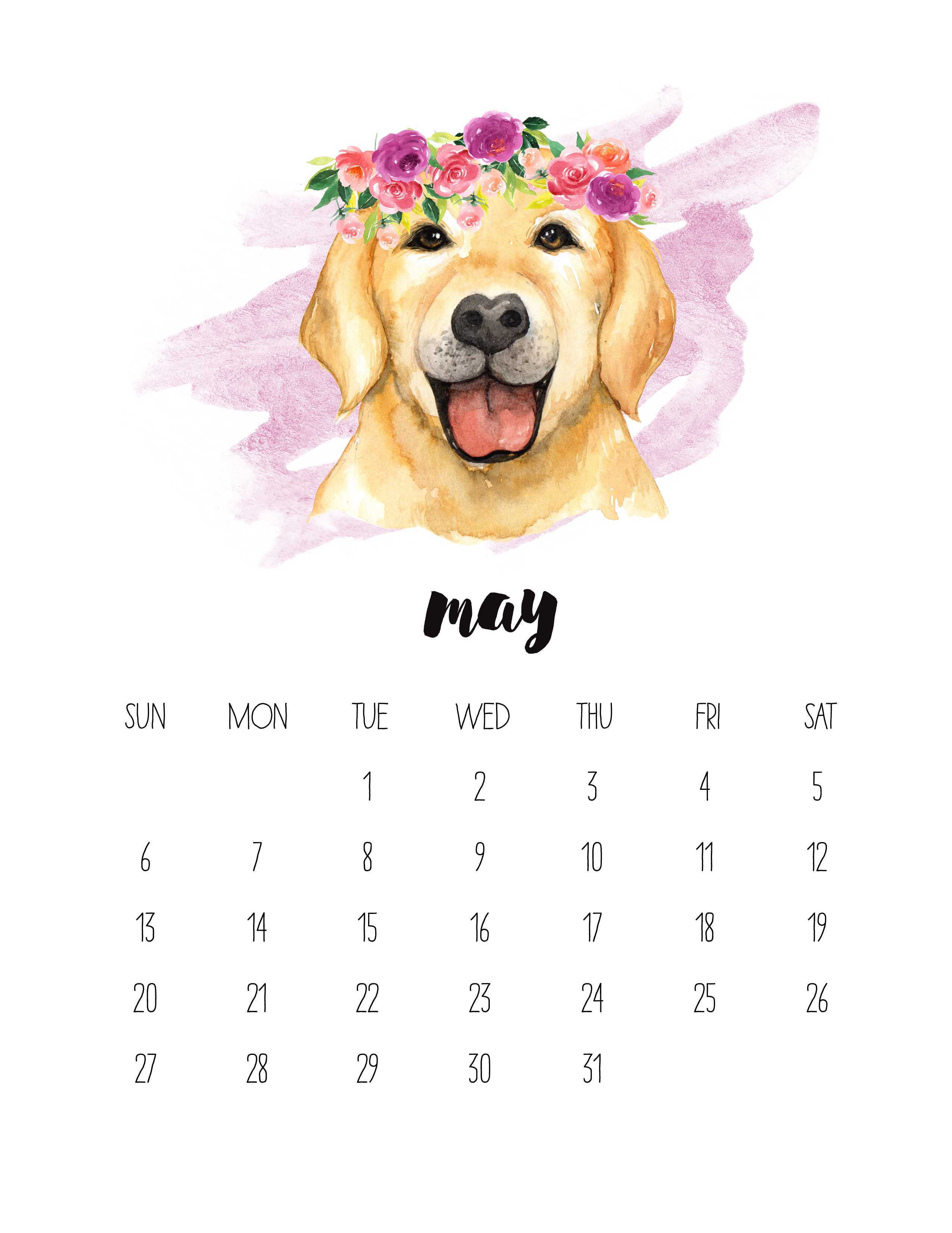 Cute May 2018 Calendar Design