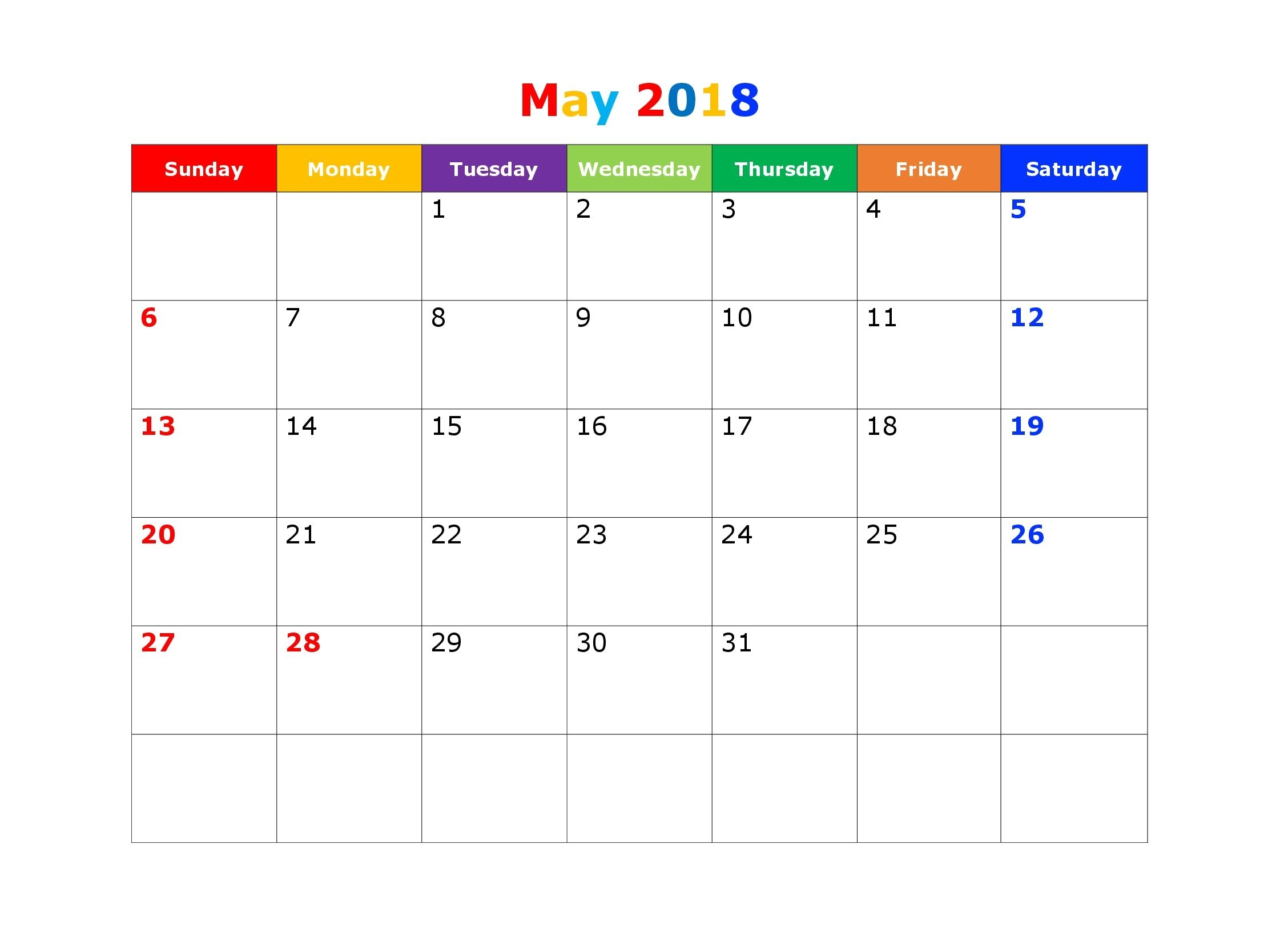 Cute May 2018 Calendar for Kids