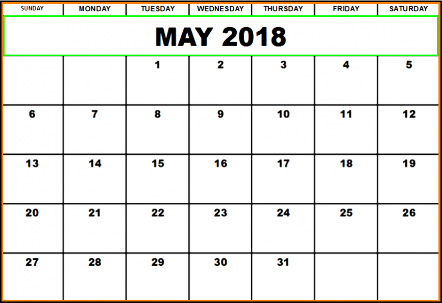 Cute May 2018 Calendar Printable Template