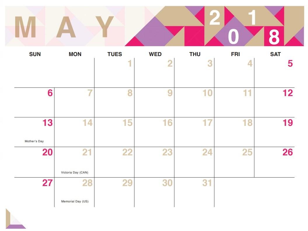 Cute May 2018 Calendar Template