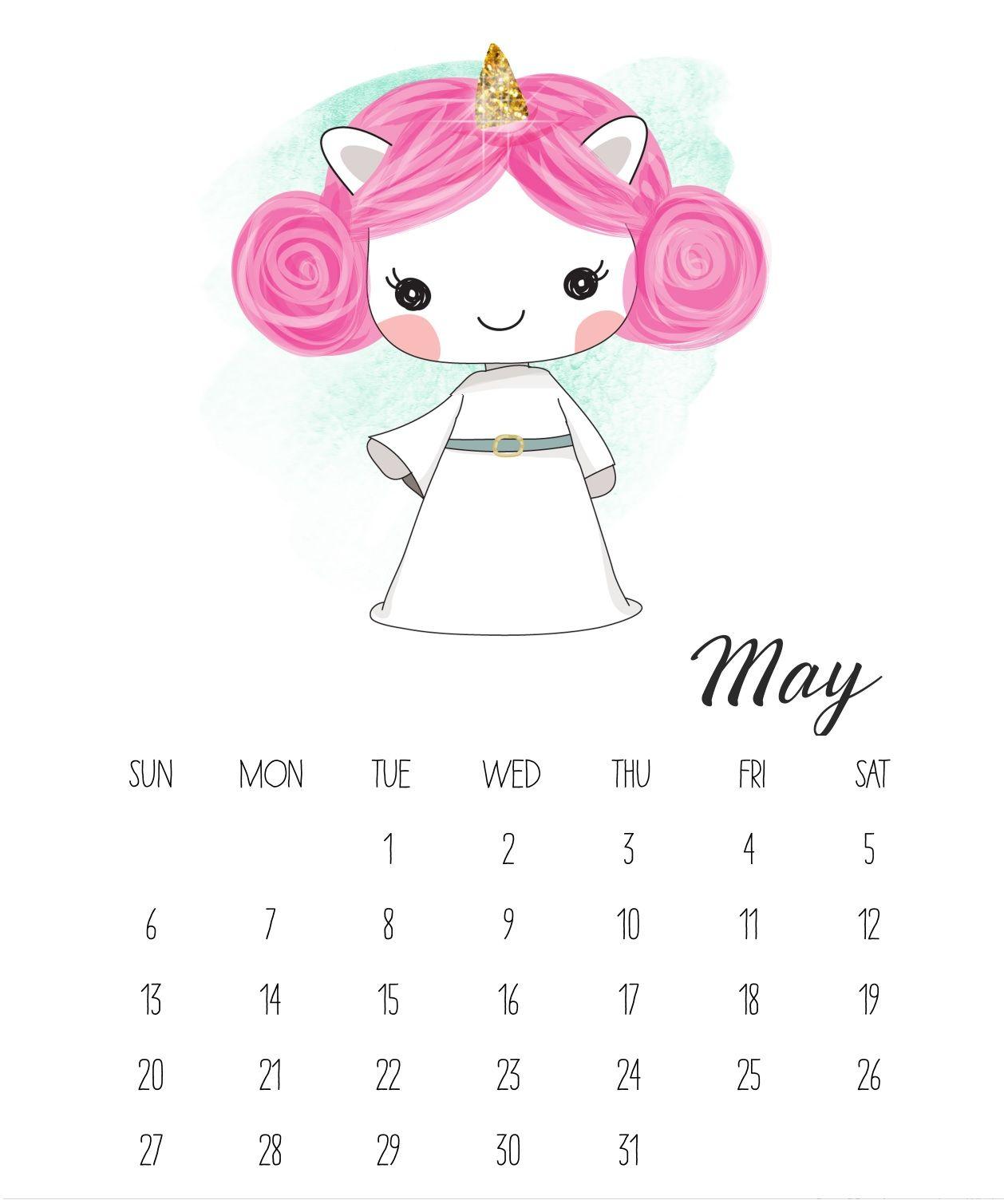 Cute May 2018 Calendars