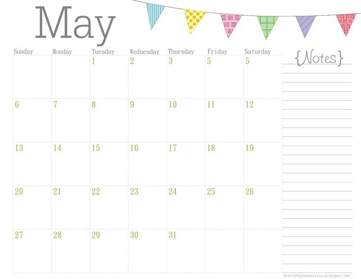 Cute May 2018 Printable Calendar