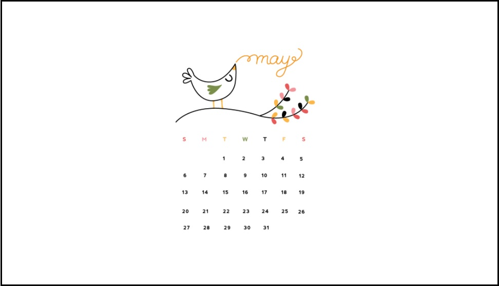 Cute May Month 2018 Calendar
