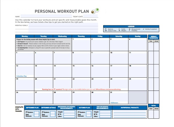 Daily Workout Planner Personal Template