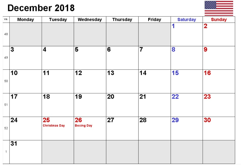 December 2018 Calendar With Holidays