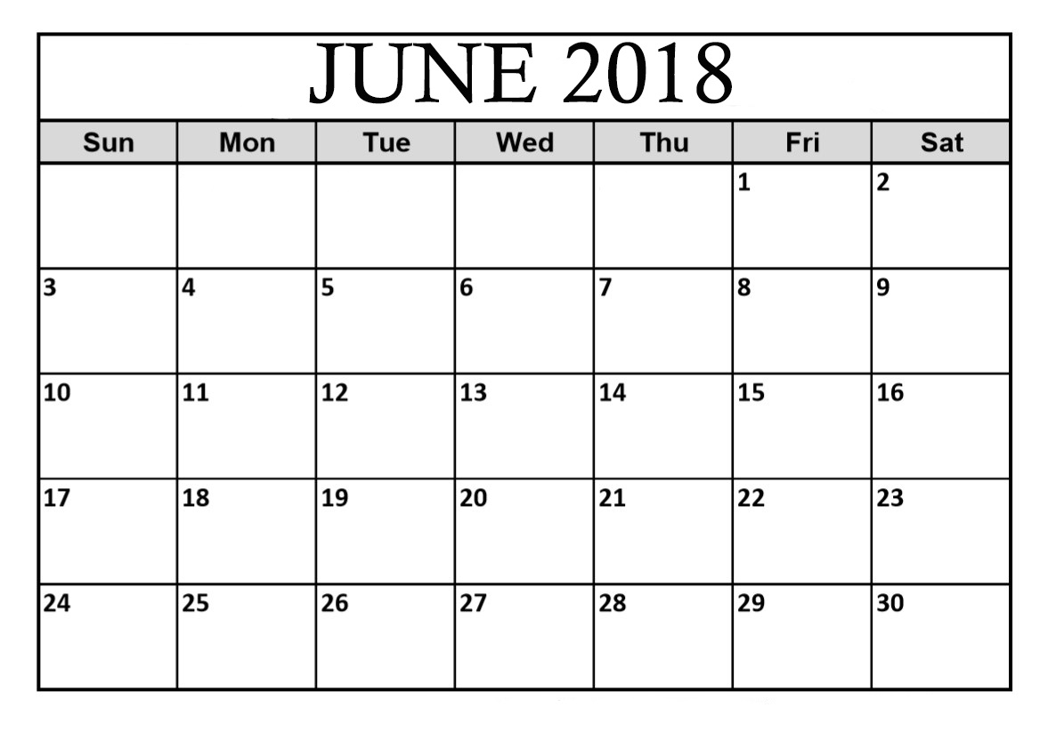 Download June 2018 Calendar Landscape
