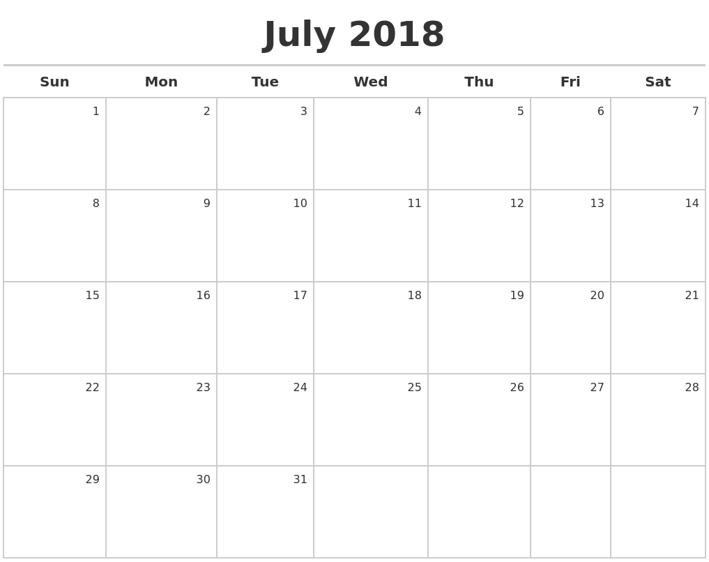 Download July 2018 Calendar