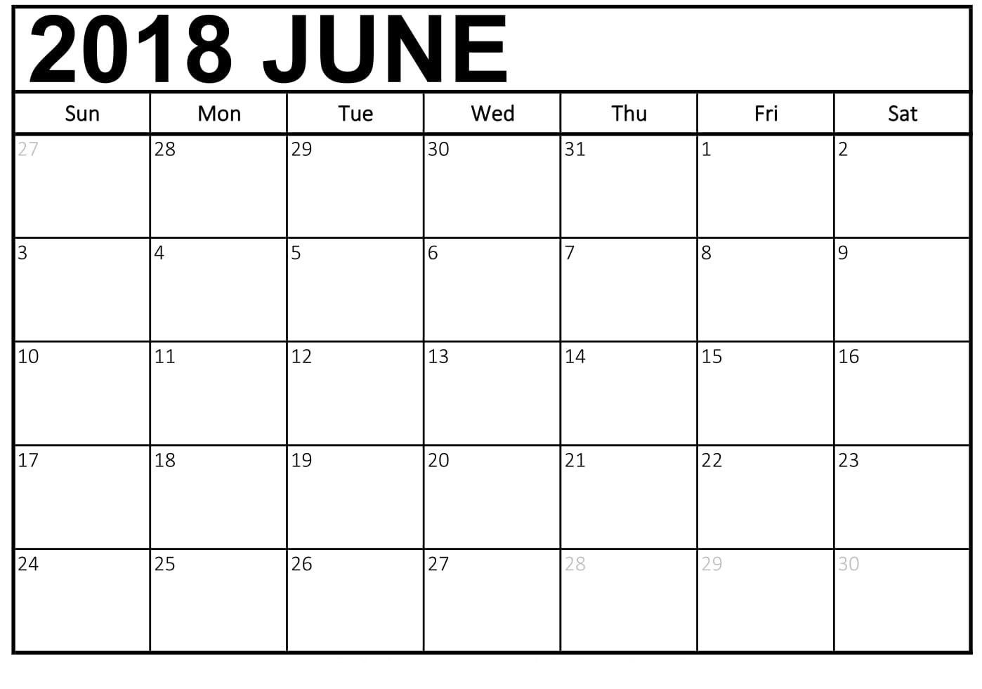Download June 2018 Calendar