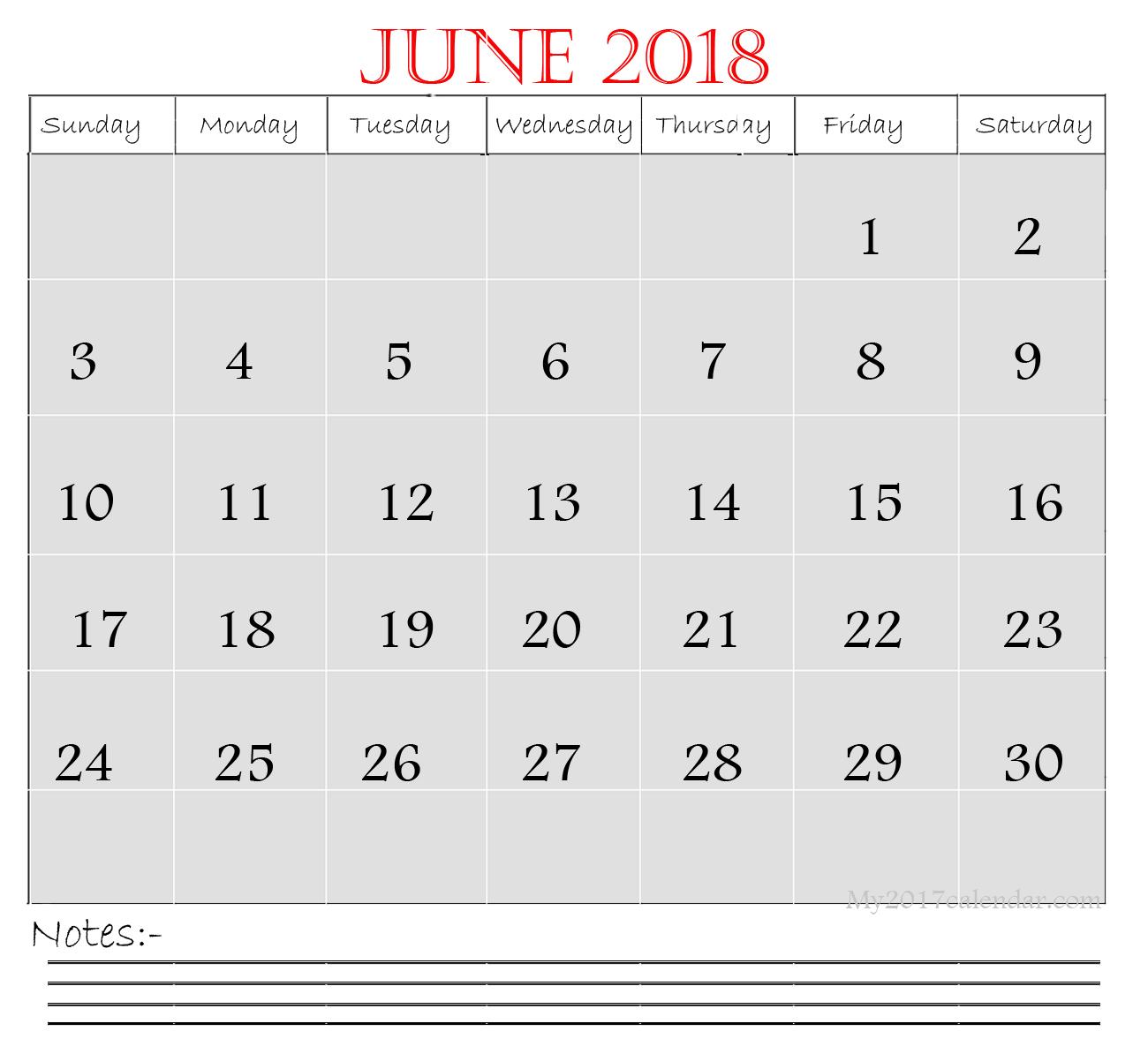 Editable 2018 June Calendar Printable