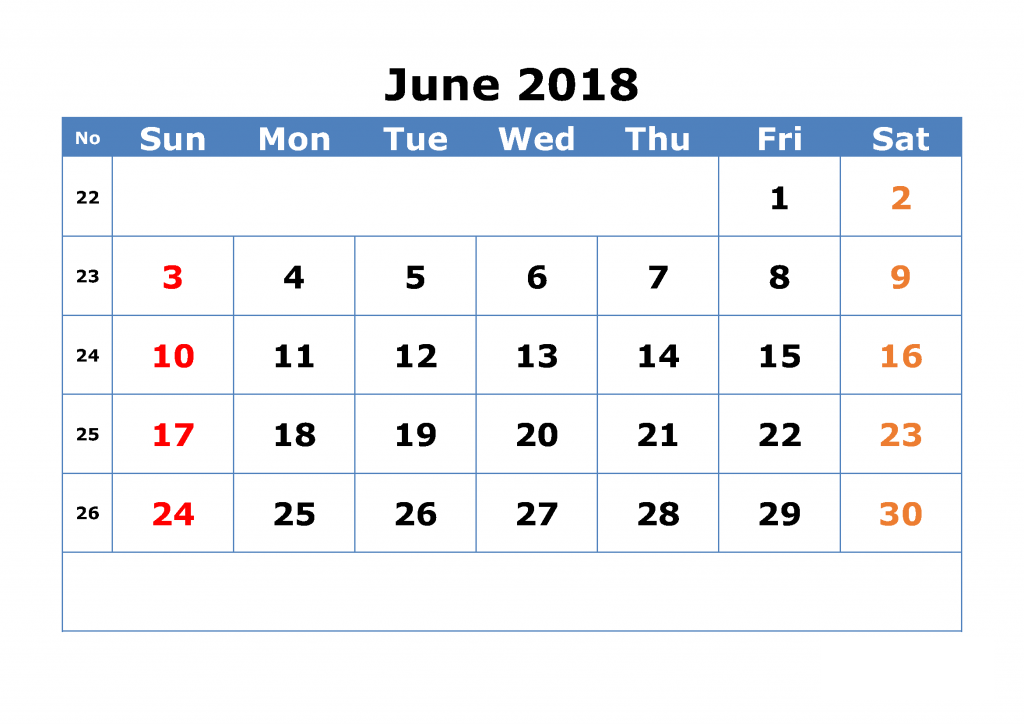 Editable 2018 June Calendar With Holidays