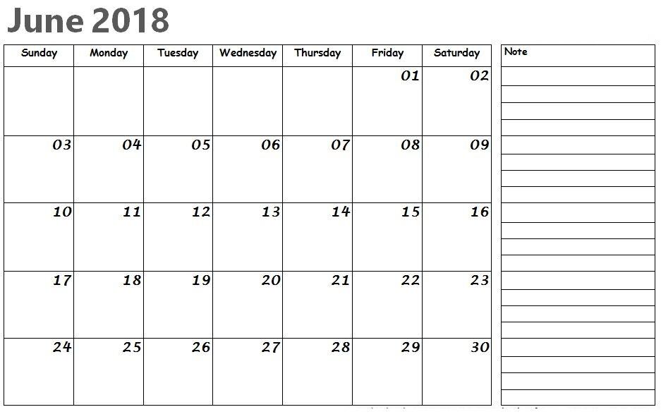 Editable 2018 June Desk Calendar With Holidays