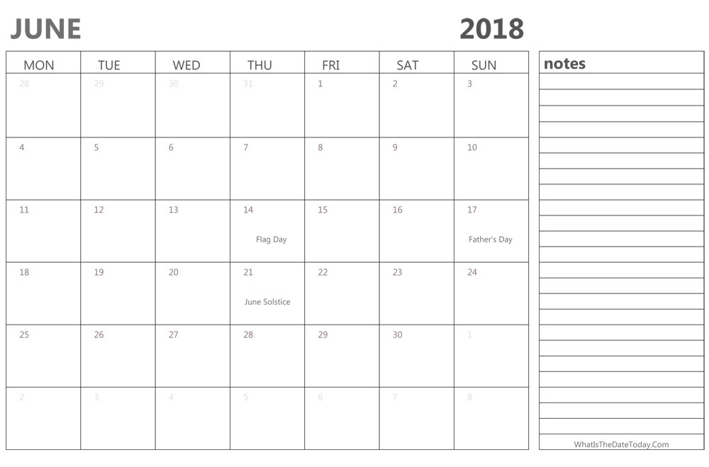 Editable Calendar June 2018 With Holidays Notes