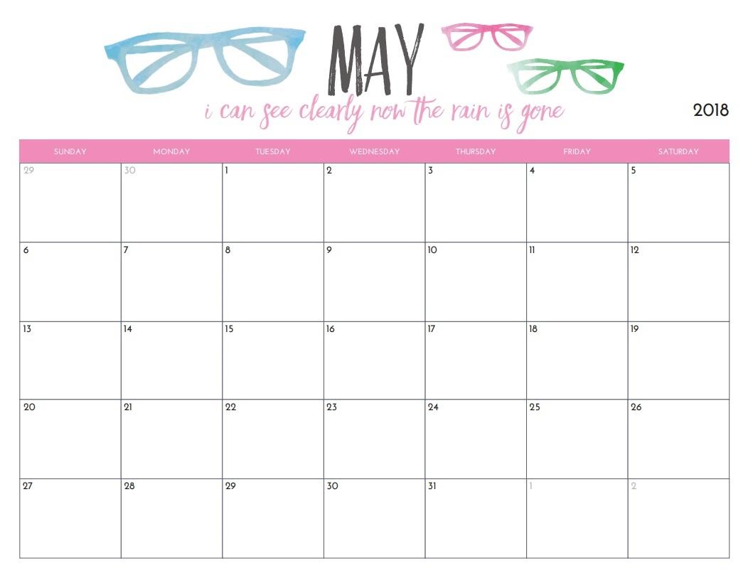 Editable Calendar May 2018 Excel
