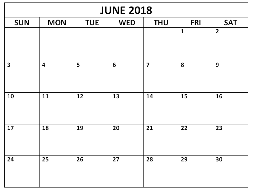 Editable June 2018 Vertical Calendar Template