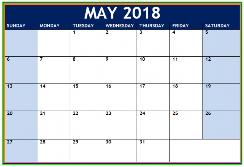 Editable May 2018 Calendar USA