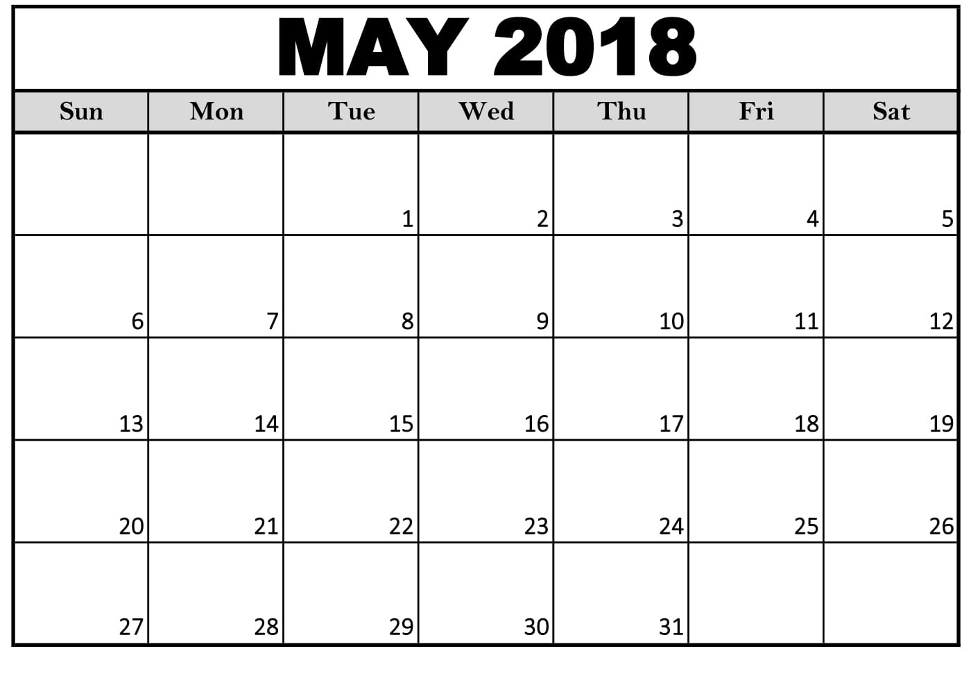 Editable May 2018 Calendar Word