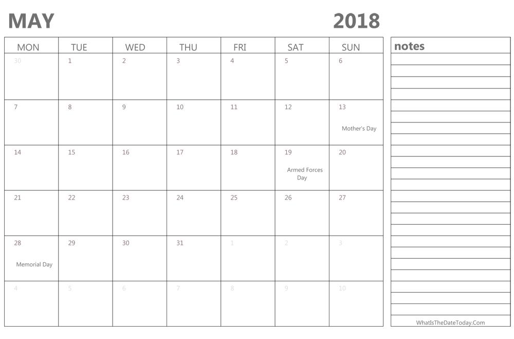 Editable May 2018 Calendar with Holidays