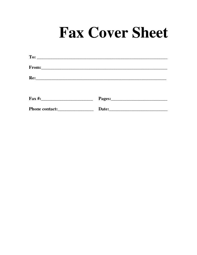 Fax Cover Sheet Microsoft to Print