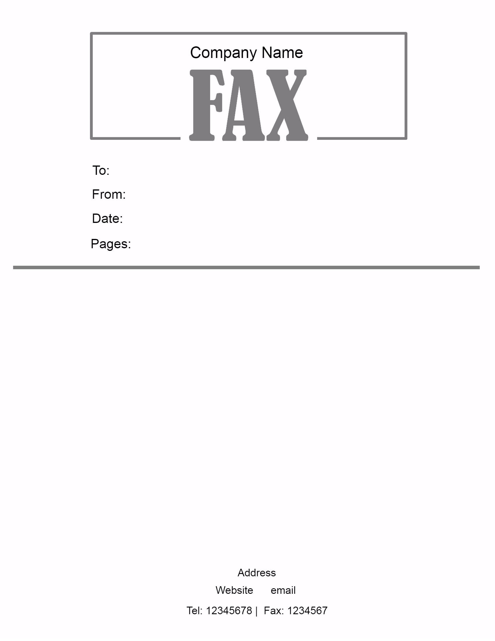 Fax Cover Sheet PDF Printable