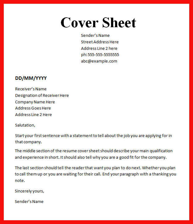 Fax Cover Sheet Word Free