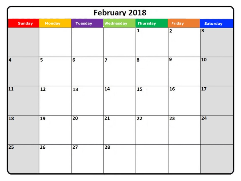 February 2018 Holidays Calendar