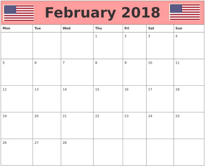 February 2018 USA Holidays Calendar