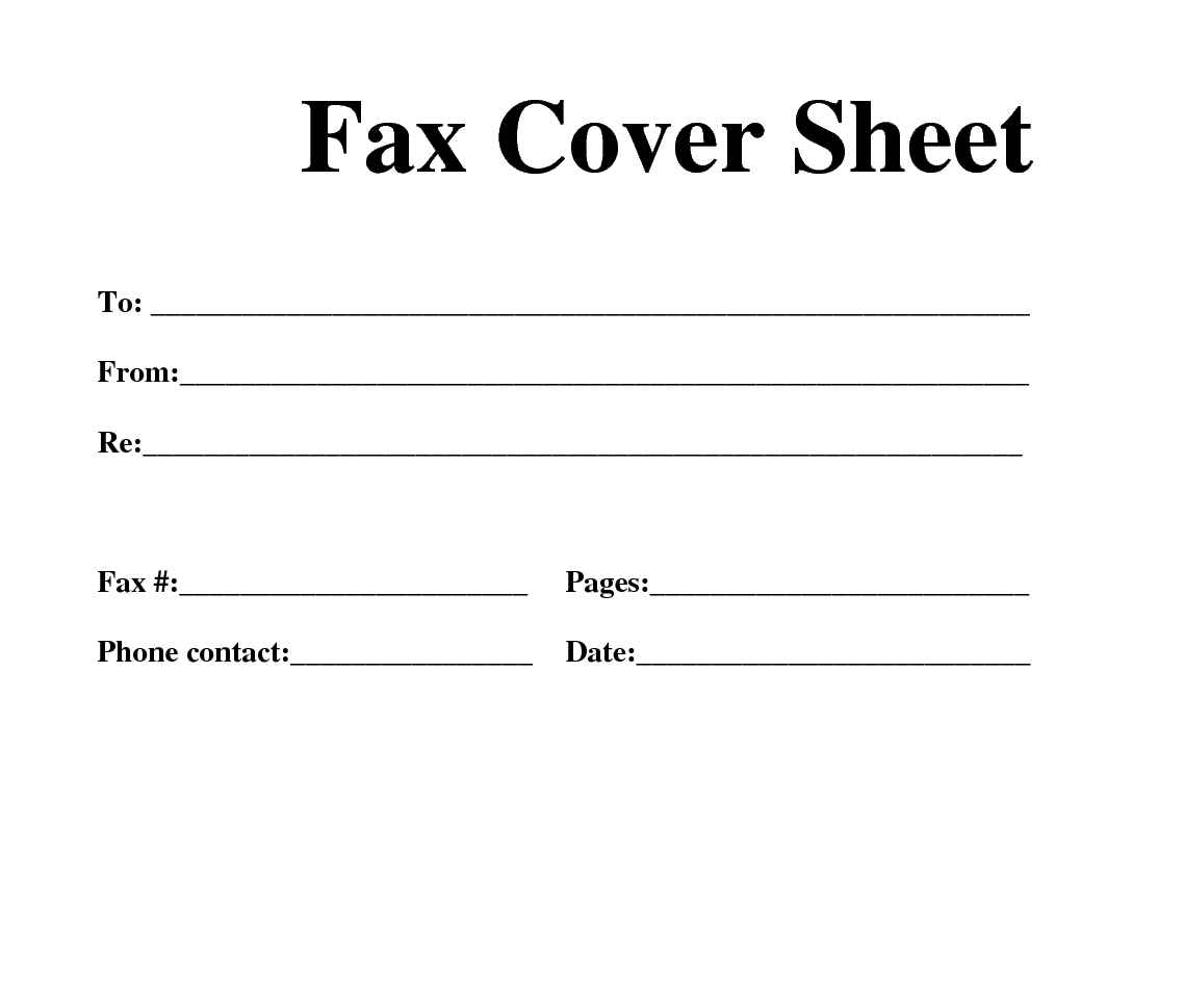 Fillable Fax Cover Sheet Template