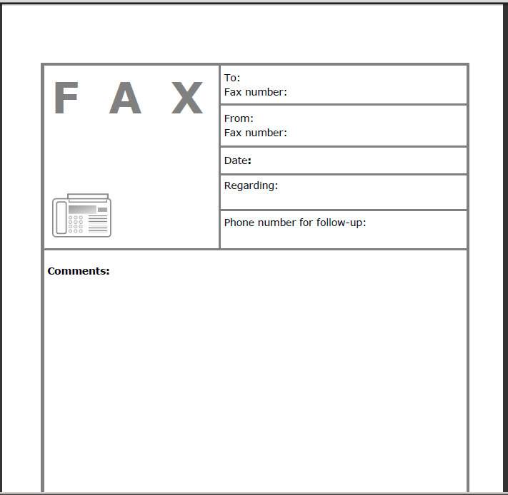 Fillable Fax Cover Sheet