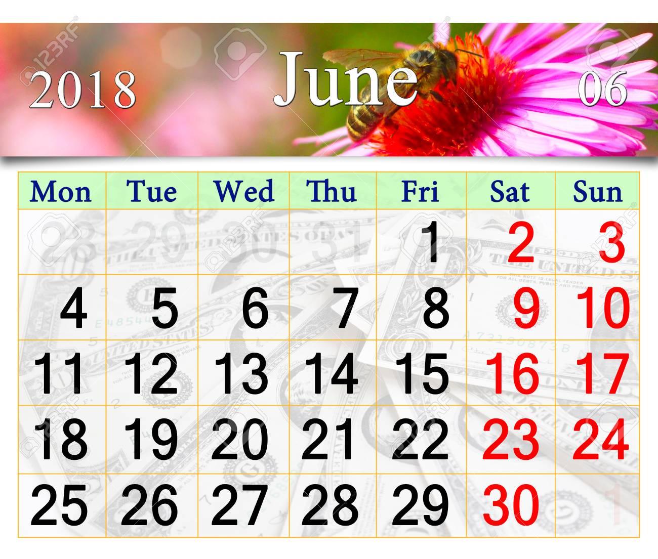 Floral Calendar June 2018 Pink