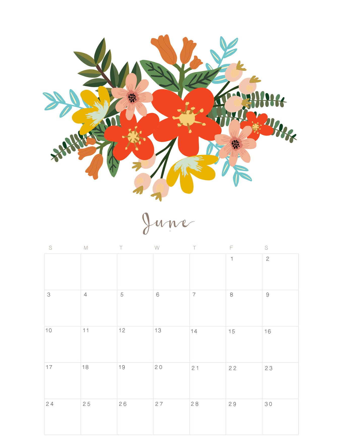 Floral June 2018 Calendar Monthly Planner Page