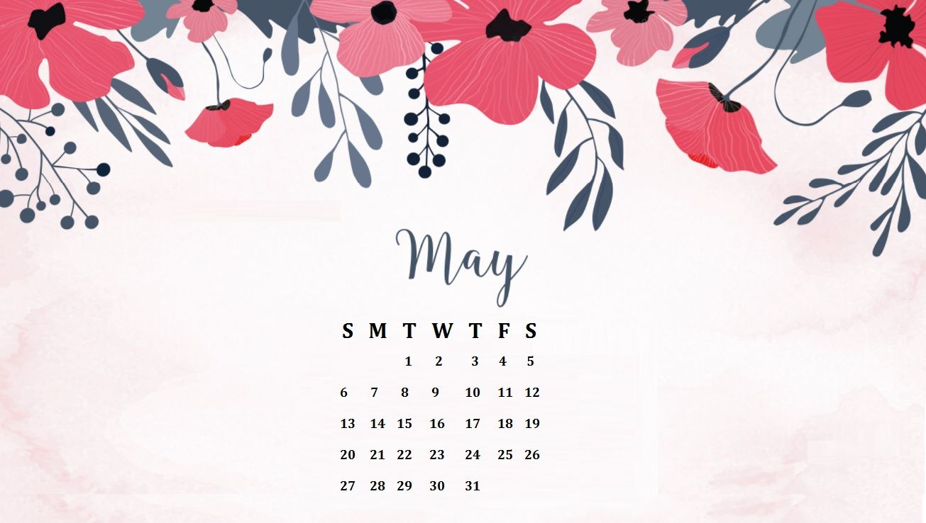 Floral May 2018 Desktop Calendar