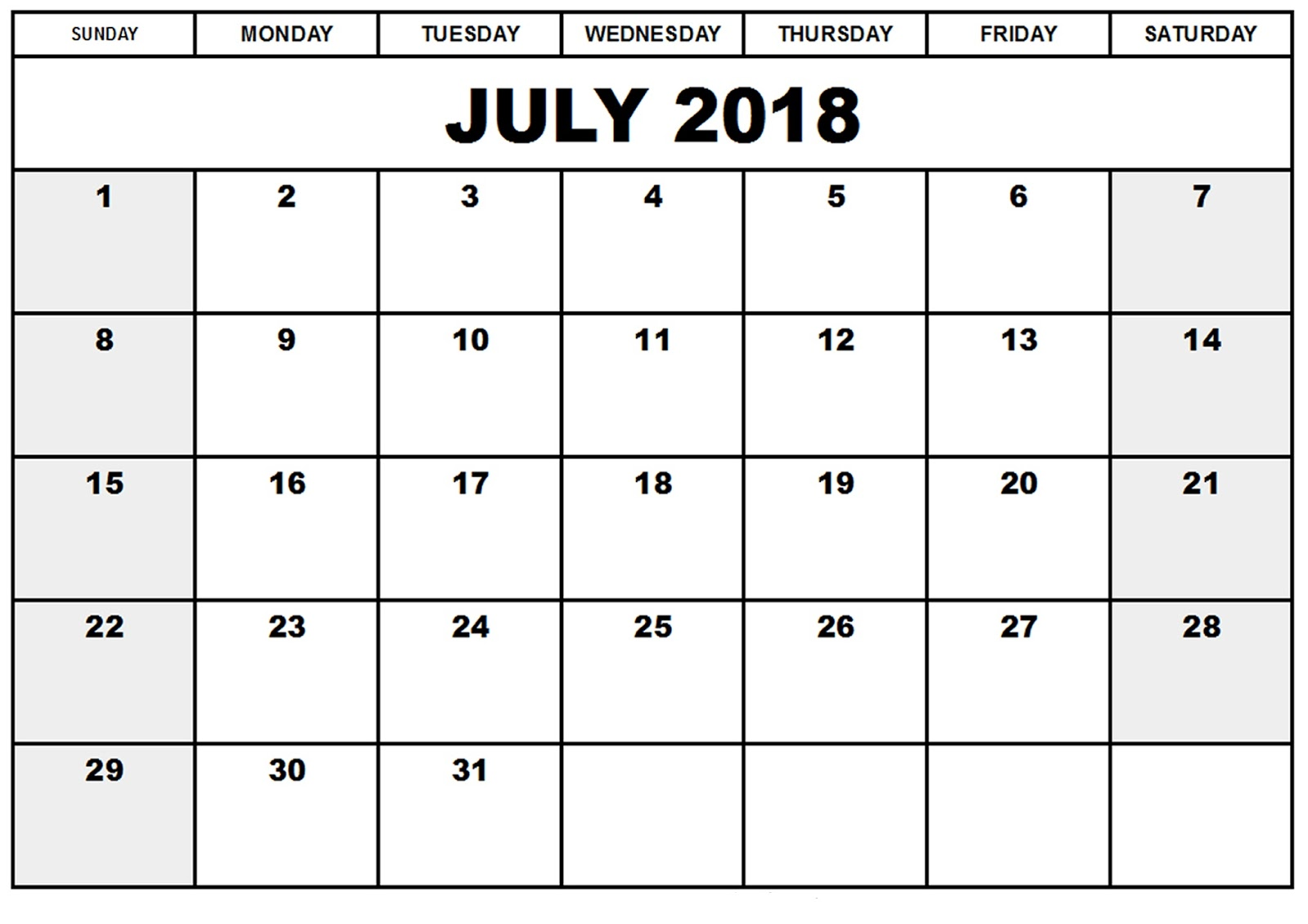 Free 2018 July Calendar Printable